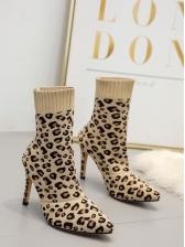 Leopard Printed Sock Booties For Women
