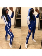 Contrast Color Hooded Long Sleeve Workout Clothes For Women