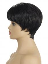 Side Bang Black High Temperature Fiber Short Wigs For Women