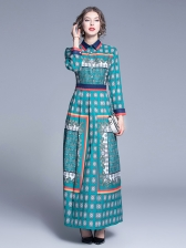 Vintage Style Fitted Long Sleeve Maxi Dress