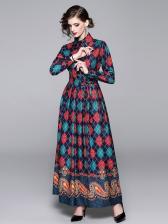 Vintage Style Geometric Printed Long Sleeve Maxi Dress