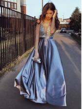 Deep V Neck Glitter Large Hem Prom Dress