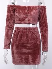 Cropped Top Off Shoulder Buckle Skirt Co-ord Set