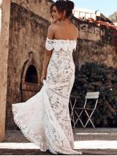 Boat Neck Large Hem White Lace Evening Dress
