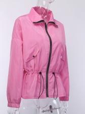 Drawstring Slim Waist Solid Coats And Jackets