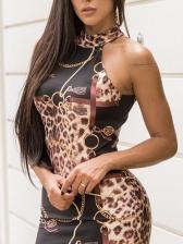 Sexy Backless Halter Leopard Bodycon Dress