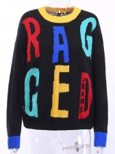 Contrast Color Letter Printed Casual Pullover sweater