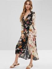 Bohemia Style V Neck Floral Wrap Dress