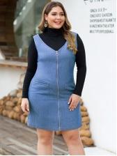 Plus Size Solid Pockets Sleeveless Denim Dresses