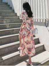 Leaves Printed V Neck Wrap Dress For Women