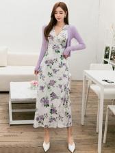 V Neck Floral Split Hem Long Wrap Dress