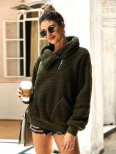 Solid High Neck Zipper Cardigan Sweater