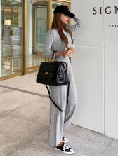 Daily Style Solid Color Wide Leg Two Piece Outfits