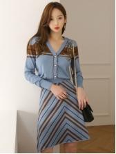 Single-Breasted Striped Stitching Knit 2 Piece Skirt Set
