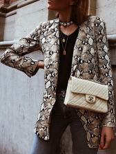 Stylish Lapel Snake Printed Blazer For Ladies