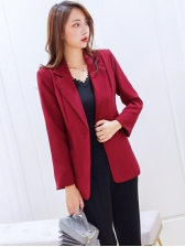 Ol Style One Button Solid Color Blazers For Women