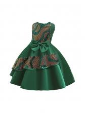 Fashion Bowknot Sleeveless Sequined Flower Girl Dresses