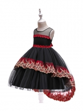 Elegant Gauze Patchwork Beading Gown For Girls
