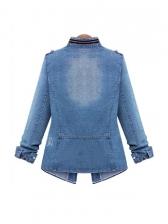 Ruffled Elastic Waist Scratches Denim Jacket