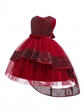 Graceful Sequined Gauze Patchwork Kids Party Dresses