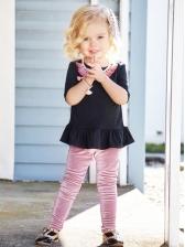 Cute Solid Pleuche Straight Skinny Kids Pants