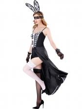 Halloween Colorblock Slip Maxi Dress Playboy Bunny Costume