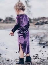 Solid Pleuche Solid Slit Casual Dresses