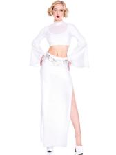 White Flare Sleeve 2 Piece Skirt Set Halloween Costumes