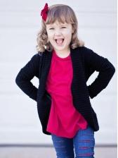 Cute Long Sleeve Solid Girls Coat