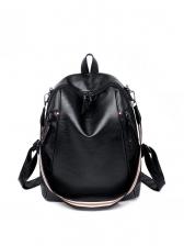 Simple Style Adjustable Belt Black Leather Backpack