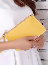Minimalist Flat Leather Clutch Purse For Women