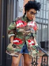 Turndown Collar Sequined Lips Camouflage Long Sleeve Shirt