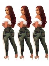 Fashion Tassel Decor Camouflage Ripped Pants