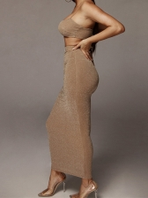 Boat Neck Crop Straps Top With Maxi Skirt