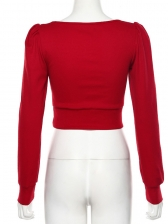 V Neck Solid Long Sleeve Knitting Cropped Top