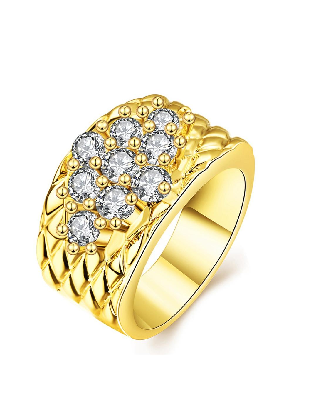 Gold Geometric Shape Rhinestone Decor Ring