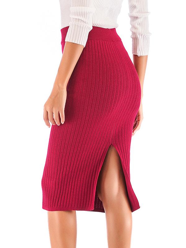 Knitting Bodycon Split Skirts For Women