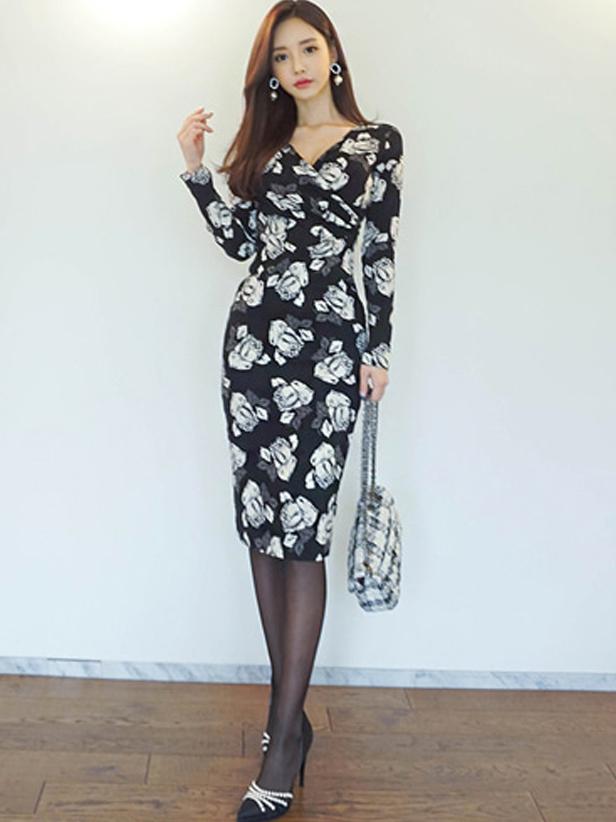 Elegant Flower Printed Slim Long Sleeve Dress