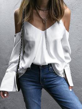 Simple V Neck Solid Off Shoulder Blouse