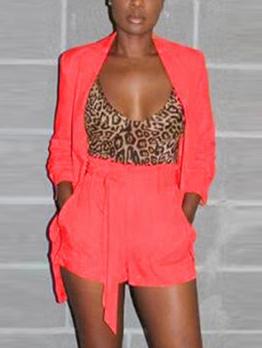 Hot Sale Tie-wrap Orange Women Suit Set