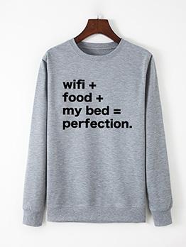 Letter Printing Round Collar Sweatshirts For Women