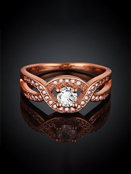 Fashion Round Zircon Decor Ring