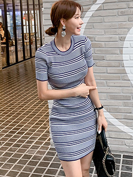 Crew Neck Knitting Striped Short Sleeve Dress