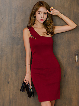 Night Club Solid Inclined Shoulder Sleeveless Dress