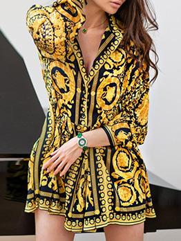 Turndown Collar Printed Long Sleeve Mini Dress
