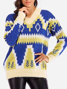 Geometric Print V Neck Loose Pullover Sweater