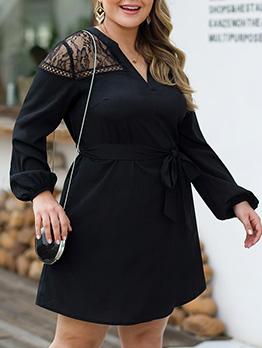 V Neck Lace Panel Long Sleeve Plus Size Dress
