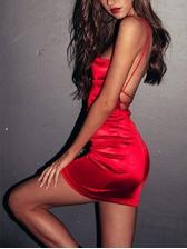 Sexy Cross Belt Backless Spaghetti Strap Bodycon Mini Dress