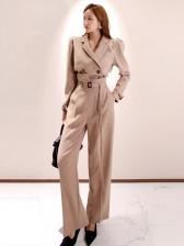 Solid Color Button Up 2 Piece Pants Set For Ladies