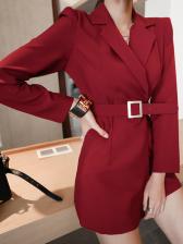 Office Ladies Lapel Smart Waist Long Sleeve Romper
